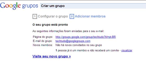 Tela de confirmação da criação do grupo