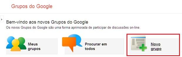 Criar um novo grupo no Grupos do Google