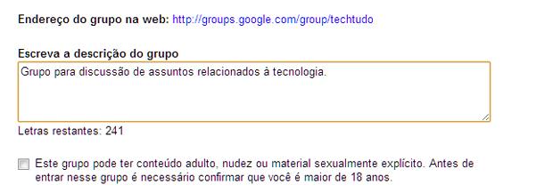 Descrição do grupo e opção de conteúdo adulto