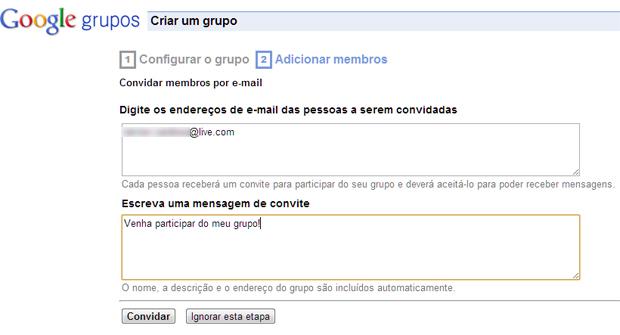 Enviando convites para participação no grupo