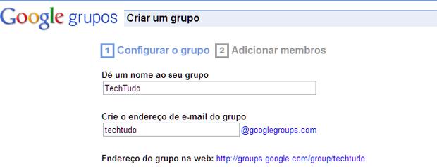 Escolhendo um nome para um grupo do Google Grupos