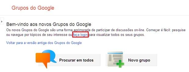 Opção de login na página do Google Grupos