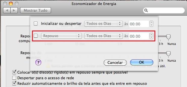 Opções de economia de energia do Mac