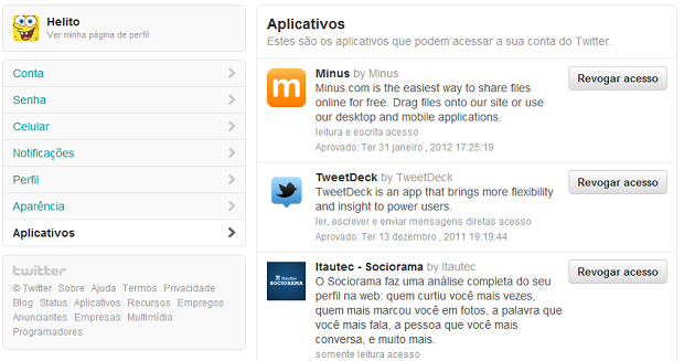 Cancelando o acesso de aplicativos no Twitter (Foto: Reprodução/Helito Bijora)