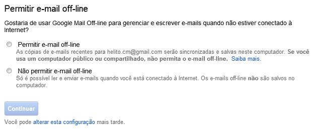 Usando o Gmail offline (Foto: Reprodução/Helito Bijora)