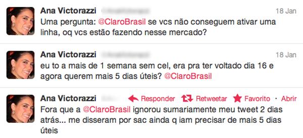 Reclamações de Ana Victorazzi no Twitter (Foto: Reprodução)