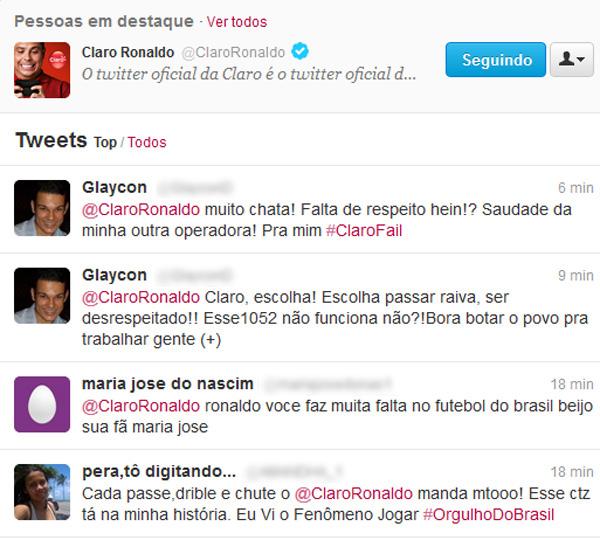 Interações no Twitter de fãs do jogador Ronaldo e clientes insatisfeitos com a Claro (Foto: Reprodução)