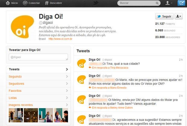 Timeline do Twitter da OI (Foto: Reprodução)