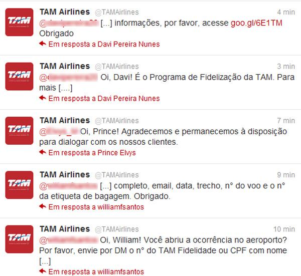 Timeline do Twitter da TAM (Foto: Reprodução)