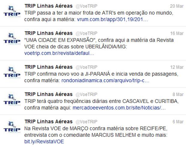 Timeline do Twitter da TRIP linhas Aéreas (Foto: Reprodução)