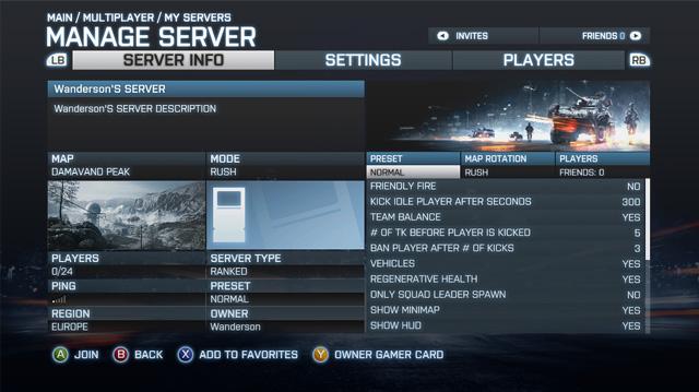 A tela de administração de servidores de Battlefield 3 (Foto: Divulgação)