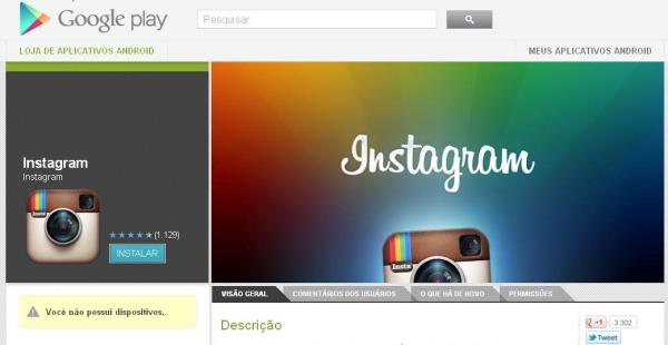 Instagram para Android já está disponível no Google Play (Foto: Reprodução)