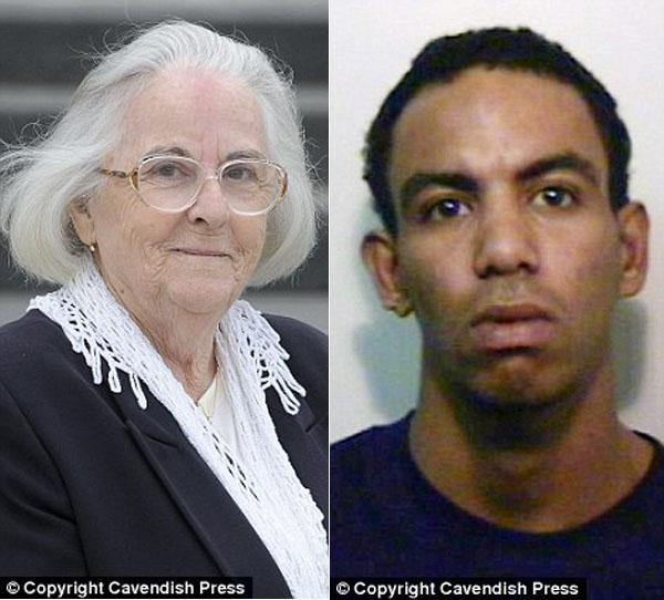 Maria Morrison, a senhora atacada, e David Walters, preso por esfaquear a vítima (Foto: Reprodução)