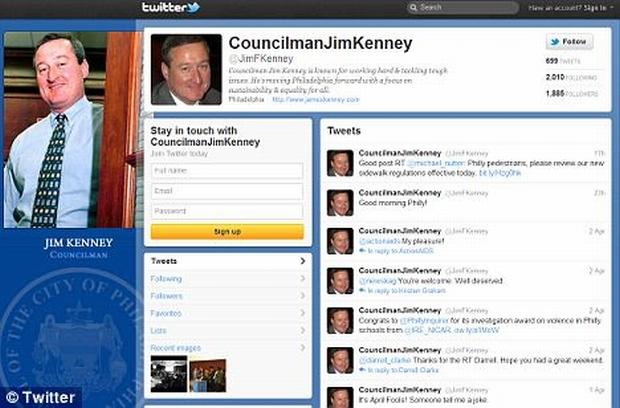 Conta do vereador Jim Kenney no Twitter: quase US$ 30 mil para deixá-la atualizada (Foto: Reprodução/Twitter)