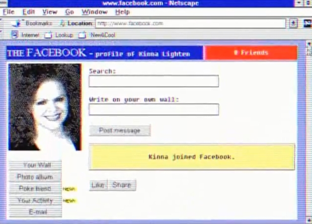 O Facebook, na década de 1990, na visão do Squirrel Monkey (Foto: Reprodução/YouTube)
