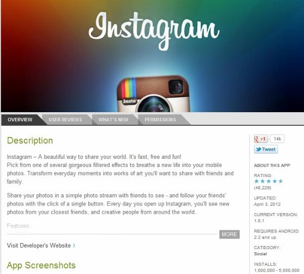 Instagram para Android se tornou um verdadeiro sucesso muito rápido (Foto: Reprodução)