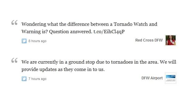 Graças ao Twitter, passageiros do aeroporto de Dallas ficaram seguros durante o tornado (Foto: Reprodução/Twitter)