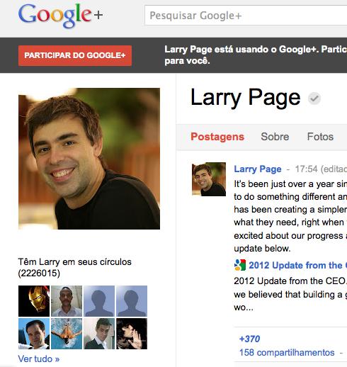 Perfil de Page no Google+ (Foto: Reprodução/Google+)