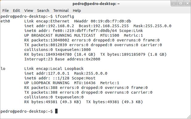Resultado do comando 'ifconfig' no Linux (Reprodução / Pedro Pisa).