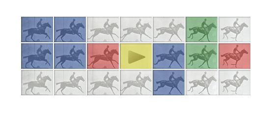 Doodle interativo faz homenagem ao 182º aniversário do fotógrafio Eadweard J. Muybridge (Foto: Reprodução/Google)