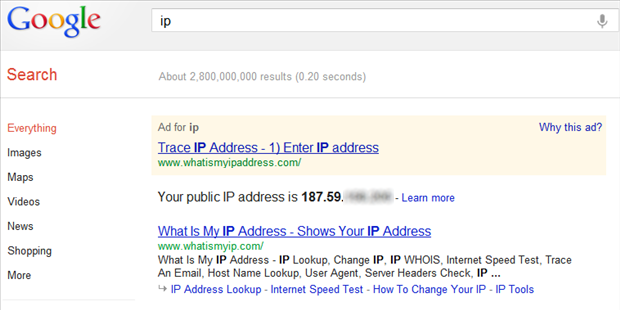 Endereço de IP no Google (Foto: Reprodução/Helito Bijora)