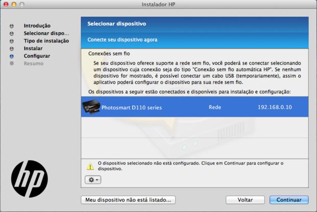 Impressora corretamente listada no configurador da HP (Reprodução / Pedro Pisa).