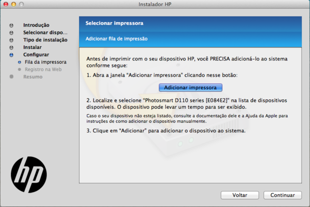 Adicionar impressora à fila de impressão do Mac (Reprodução / Pedro Pisa).