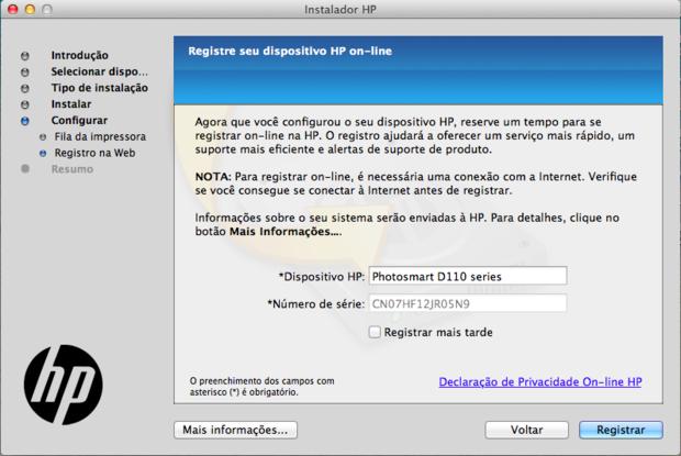 Registro da impressora na HP (Reprodução / Pedro Pisa).