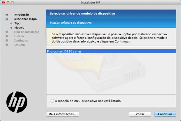 Escolha do tipo de dispositivo a ser instalado (Reprodução / Pedro Pisa).