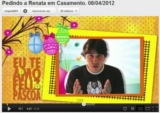 Pedindo a Renata em casamento se tornou um sucesso instantâneo no YouTube (Foto: Reprodução)