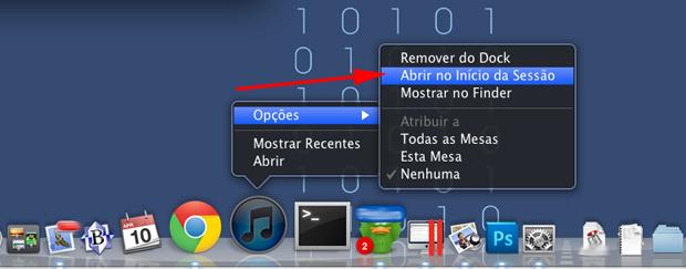 """Clique com o botão direito no ícone, e navegue até a alternativa """"Opções"""" (Foto: Reprodução Hugo Carvalho)"""