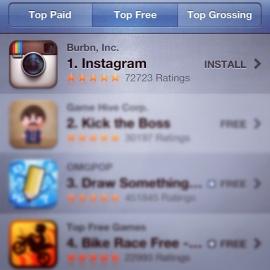 Instagram alcança o topo no iTunes na lista de apps gratuitos (Foto: Reprodução) (Foto: Instagram alcança o topo no iTunes na lista de apps gratuitos (Foto: Reprodução))