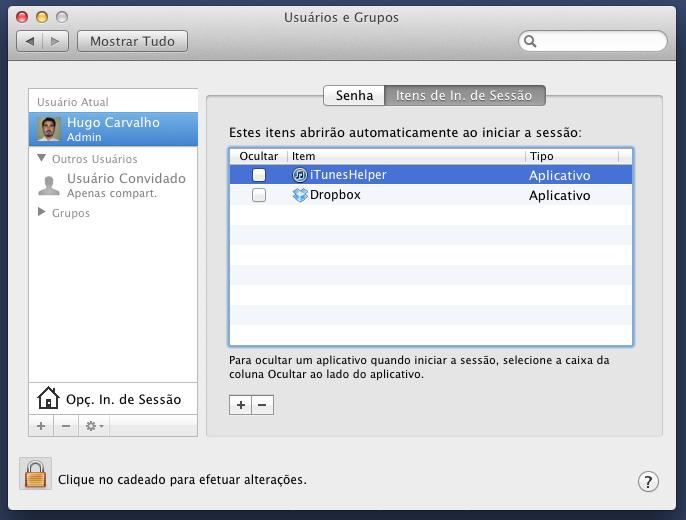 No menu Usuários e Grupos, você pode observar quais itens abrirão automaticamente ao iniciar a sessão (Foto: Reprodução/Hugo Carvalho)