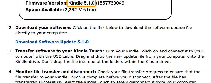 Link do arquivo para o update do Kindle Touch (Foto: Reprodução)