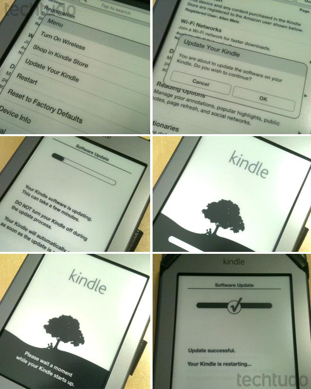 Realizando o update no Kindle Touch (Foto: Allan Melo/TechTudo)
