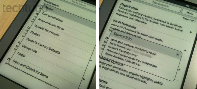 Verificando sua versão do Kindle Touch (Foto: Allan Melo/TechTudo)