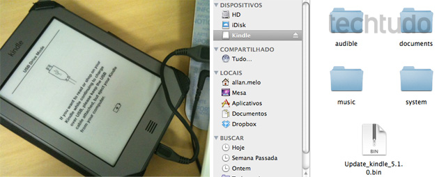 Transferindo o arquivo .bin para dentro do Kindle Touch (Foto: Allan Melo/TechTudo)