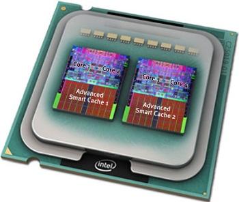 Os processadores de quatro núcleo da Intel, Core 2 Quad, são formados, basicamente, por dois Core 2 Duo ligados na mesma placa física (Foto: Reprodução)