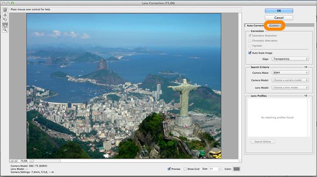 Janela de configuração do filtro de correção de lente (Reprodução / Pedro Pisa).