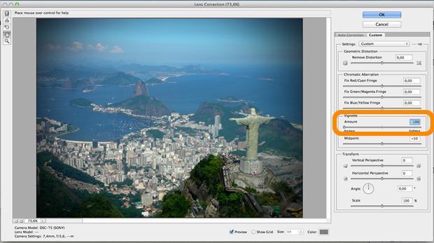 Ajuste da configuração Vignette, que dará o efeito desejado (Reprodução / Pedro Pisa).
