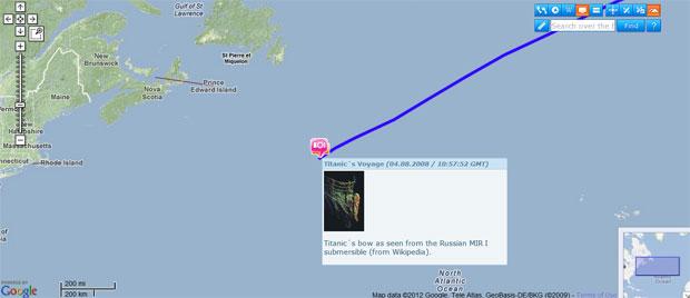Com o Google Earth, é possível rever a trajetória do Titanic (Foto: Reprodução)