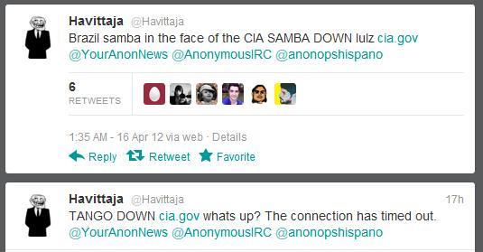 Brasil samba na cara da CIA, diz tweet do Havittaja (Foto: Reprodução/Twitter)