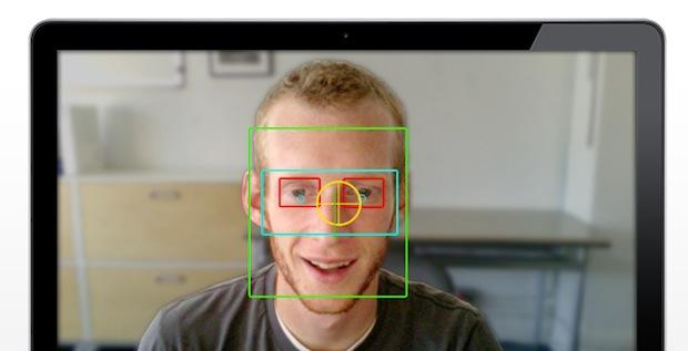 Rastreamento da face humana com marcação dos olhos, nariz e rosto (Reprodução / Oddcast).