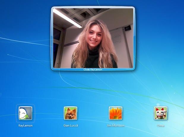 Interface de autenticação do Windows 7 com reconhecimento facial do programa KeyLemon (Reprodução / ComPixels).