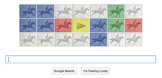 Comemoração do 182° aniversário do fotógrafo Eadweard Muybrigde foi um dos Doodles do Google(Foto: Reprodução/Google)
