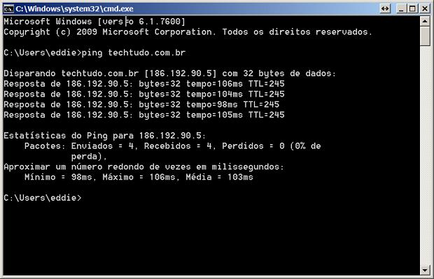 Usando o comando Ping (Foto: Reprodução/Edivaldo Brito) (Foto: Usando o comando Ping (Foto: Reprodução/Edivaldo Brito))
