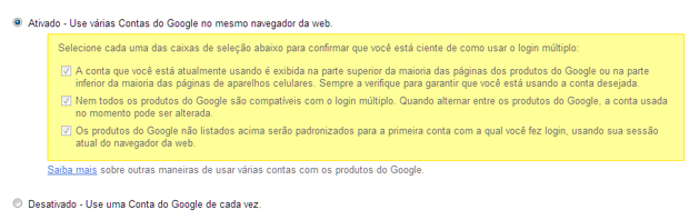 Ativando o login múltiplo do Google