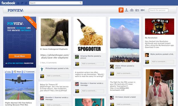 Página do Facebook utilizando o Pinview (Foto: Reprodução)