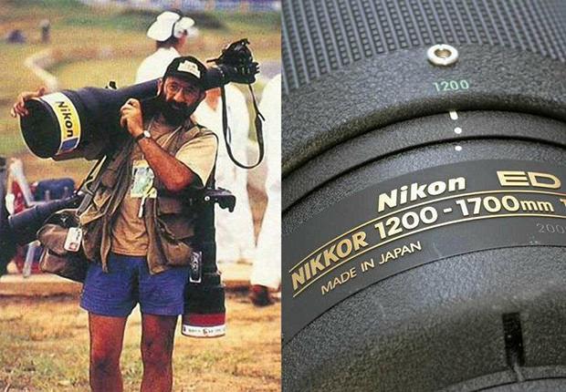 Fotógrafo se esforça para carregar lente de 36 quilos (Foto: Divulgação)