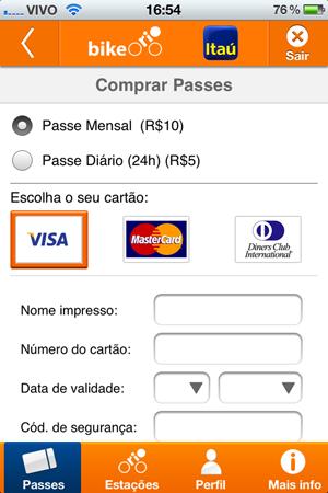 Escolha o passe e insira os dados de seu cartão (Foto: Aline Jesus/Reprodução)